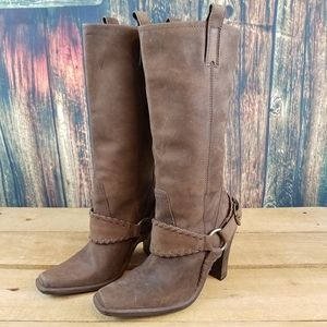 STEVE MADDEN HAILEE BUCKLE LEATHER BOOTS